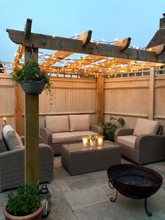 Garden decor inspiration with Moda Furnishings furniture, pergola and fairy ligh. - Garden decor inspiration with Moda Furnishings furniture, pergola and fairy lights Backyard Seating, Patio Gazebo, Backyard Patio Designs, Pergola Designs, Backyard Pergola, Backyard Ideas, Diy Patio, Small Backyard Design, Small Backyard Patio