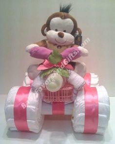 4-Wheeler Diaper Cake for Girl http://babyfavorsandgifts.com/4wheeler-diaper-cake-for-girl-p-301.html