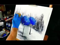 3 blue trees on black and white ice - painting video step by step demo - fan brush and round brush - YouTube