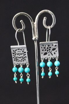 Sterling Silver & Turquoise Earrings like Papel Picado or Mexican Party Banners