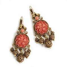 Coral Earrings, Filigree Earrings, Coral Jewelry, Girls Earrings, Vintage Earrings, Etsy Earrings, Beaded Earrings, Filigree Jewelry, Beading Jewelry