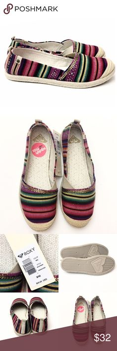 Roxy Hippie Chic Flamenco Slip On Shoe You'll look hippie chic and be comfy in these fun multi colored summer slip on from Roxy. Pair it with your jeans and sweatshirt for a casual, laid-back look. Woven espadrille trim and cushioned footbed. These shoes run small- they are a size 9 but run half size small - so I have listed them as 8.5. Brand new in box! Retails $44 Roxy Shoes Flats & Loafers