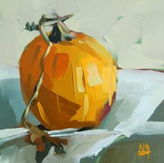 Pumpkin with Vine original still life oil painting by Moulton 6 x 6 inches on panel