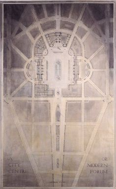 Harold Chalton Bradshaw, 'Plan for the City Centre or Modern Forum', circa 1920, pencil and watercolor heightened with white