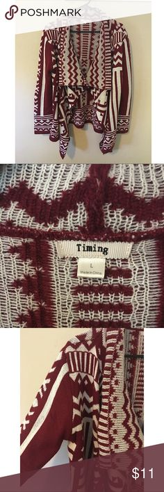 ✨Timing tribal pattern cardigan Very good condition! Has a small stitch on the side but not even noticeable! Perfect all around! Says hand wash but I put in the washer and it's good! Make an offer 😊 Timing Sweaters Cardigans