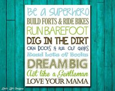 Little Boys Wall Art. Nursery Decor. Children's Wall Art. Baby Shower Gift. Be a Superhero. Dream Big. Run Barefoot. Love Your Mama on Etsy,