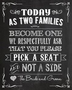 Pick a seat not a side chalkboard wedding sign from oak city paper company. #wedding #weddingsign #sign #smh #lifeandstyle