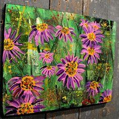 ~PURPLE CONE FLOWER~FOLK ART Maine outsider~COASTWALKER