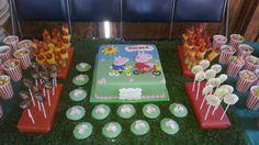 Peppa Pig and George birthday cake and matching cupcakes for my daughter's 3rd birthday party ~ barnyard party