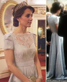 The Duchess of Cambridge at the 2015 diplomatic reception seen wearing the Cambridge Lovers Knot Tiara, originally a gift to Princess Diana from the Queen. | ITV/ITV via HRHKateMiddletonUK Instagram