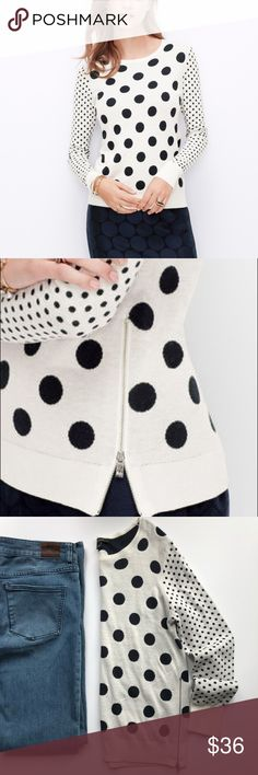 "Ann Taylor Cashmere Blend Polka Dot Sweater Ivory with deep navy contrasting size dots • hip zippers • viscose/nylon/poly/Cashmere Blend • 18"" bust • 23"" length from Shoulder to bottom • perfect worn alone, with a cardigan or blazer  Ann Taylor Sweaters Crew & Scoop Necks"