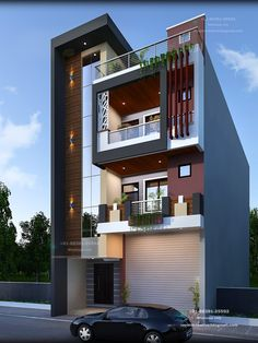 3 Storey House Plans Lovely نمای Ø³Ø§Ø ØªÙ…Ø§Ù† Flat Roof House Designs, House Outer Design, Narrow House Designs, House Front Design, Cool House Designs, Modern House Design, Modern House Facades, Modern Architecture House, Architectural Design House Plans