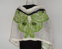 Nuno Felt Shawl Luna Moth -    Edit Listing  - Etsy