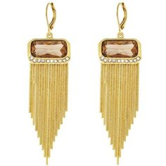 Vince Camuto Brown Gold-Tone Leverback Fringe Earrings (3.825 RUB) ❤ liked on Polyvore featuring jewelry, earrings, brown, vince camuto jewelry, clear crystal earrings, gold tone earrings, gold tone jewelry and vince camuto