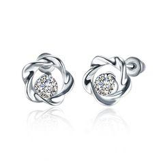 Platinum Fashion Jewellery Flower Zircon Stud Earrings