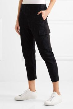 Vince - Suede Cargo Pants - Black - medium