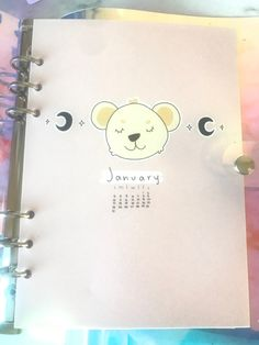 A set of planner pages to go in an planner or to use loose. Features a pink pastel color scheme, a sweet bear illustration o the cover and customizable to any month. Monthly Planner, Planner Pages, Bear Illustration, Sticker Shop, Cover Pages, Pink Aesthetic, Pastel Colors, A5, One Pic