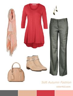 Soft Autumn fashion: an outfit in gray, beige, warm rose-coral and light salmon