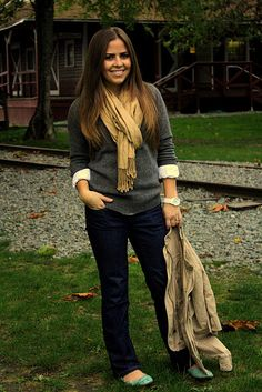 gray sweater, white shirt underneath, tan scarf, dark jeans and mint shoes?! perfection.