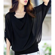 Stylish Scoop Neck Bat-Wing Sleeve Solid Color Sequin Embellished Loose-Fitting Chiffon Women's Blouse