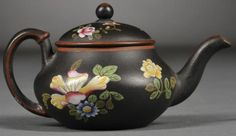 Miniature wedgwood black basalt teapot and cover