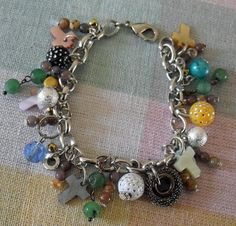Charm Bracelet with a Scramble of Charms & Beads by GrannyJewelry, $22.00