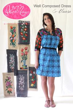 Well Composed Dress & Blouse--this is almost exactly McCall's 7095 but without elastic at sleeve cuffs and longer to make a dress. I really like the mix of prints as well.