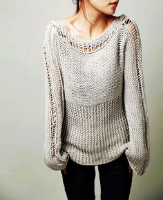 Hand knit woman sweater - Eco cotton sweater in light grey-ready to ship, Hand knit girl sweater - Eco cotton sweater in mild grey-ready to ship I need to knit one thing like this. Girls Sweaters, Long Sweaters, Sweaters For Women, Hand Knitted Sweaters, Cotton Sweater, Comfy Sweater, Tunic Sweater, Handgestrickte Pullover, Chunky Yarn