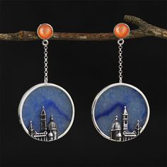 UK 925 Sterling Silver The City Dangle Earrings Jewellery Natural Handmade Couple Jewelry, Gold Jewelry, Jewellery, Cremation Jewelry, Valentine Gifts, Dangle Earrings, Dangles, Christmas Gifts, Gemstones