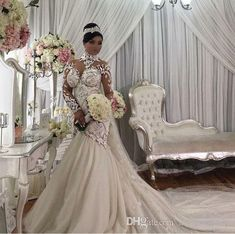 Azzaria Haute Couture Nigeria Mermaid Long Sleeve Wedding Dresses 2018 Modest Sheer High Neck Floral Lace Plus Size Arabic Wedding Gown Camo Wedding Dresses, Sheer Wedding Dress, Muslim Wedding Dresses, Colored Wedding Dresses, Elegant Wedding Dress, Wedding Attire, Bridal Dresses, Wedding Gowns, Dubai Wedding
