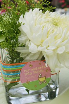 baby shower centerpiece ask kp to make a tag just like the invite