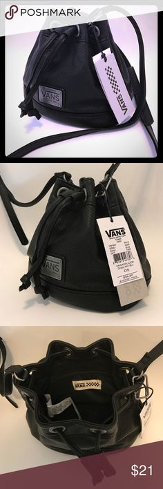 Authentic Vans Brand Mini bucket purse FAUX leather is very buttery soft, drawstring cinched it securely shut. Strap is adjustable with buckle. Interior zip pocket. ✨NEW✨ with the 🏷tags! (NWT) BUNDLE this with one or more item(s) to take advantage of my 20% percent 💰DISCOUNT💰🎉! Vans Bags