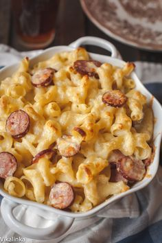 The creamiest mac and cheese you will ever make and those kielbasa rounds add a light smokiness to this rich and comforting dish.