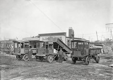"""Washington, D.C., circa 1912. """"S.M. Frazier trucks."""" Samuel Frazier, dealer in coke and lime, and his fleet of """"Wilcox Trux"""" at his business on Monroe Street in Anacostia."""