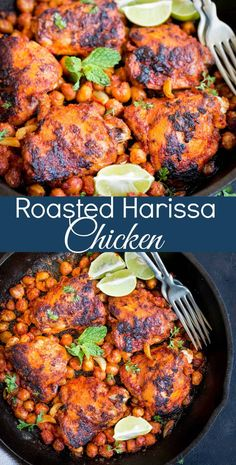 Flavorful Roasted Harissa Chicken - This oven baked roasted Harissa chicken is marinated in spicy Moroccan Harissa paste. This makes an easy quick weeknight dinner. Healthy Chicken Recipes, Turkey Recipes, Cooking Recipes, Skillet Recipes, Protein Recipes, Gf Recipes, Easy Recipes, Harissa Chicken, Chicken