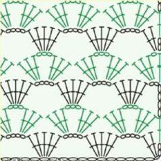 How to Crochet Wave Fan Edging Border Stitch - Crochet Ideas - Motivo ideale per maglietta Crochet Stitches Chart, Crochet Motifs, Crochet Borders, Crochet Diagram, Crochet Squares, Crochet Lace, Crochet Shoes, Crochet Doilies, Knitting Patterns