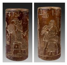 Persian Agate Cylinder Seal with carved, elaborately dressed male figures paying homage to a king seated on a throne, with various cuneiform inscriptions. 500 BC