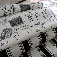 French Script and Black Stripe Awning Upholstery Fabric - 6 Yards… Long Silver Hair, Caravan Awnings, French Script, Fabric Pictures, French Chic, Spring Cleaning, Panel Curtains, Event Decor, Furniture Makeover