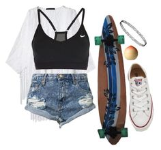 """""""Untitled #778"""" by zoey-likes-muffins ❤ liked on Polyvore featuring WithChic, NIKE, One Teaspoon, Tony Moly, Converse, women's clothing, women, female, woman and misses"""