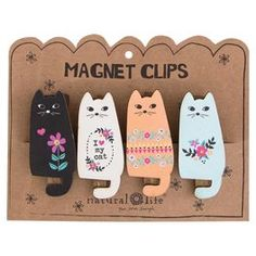 Natural Life Cat Magnet Clips—Set of 4,