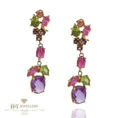 Floral Amethyst and Pink Topaz Drop Chandelier Earrings
