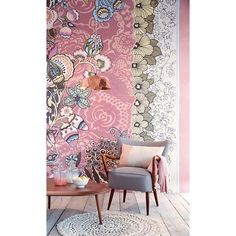 The layering is pretty  341583 Blush Floral Patchwork - Tiger - Raval Wallpaper by Eijffinger