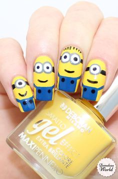 The world is in love with Minions and if you are too, you won't be able to wait to paint your nails up with these cute ideas.   Minion Nails Video Tutorial via 'Demelza's World'     We love these Minion …