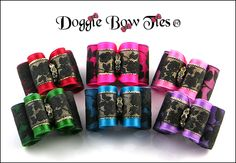Dog Bows crafted from Satin and Black Lace! Styled using high quality satin which is overlay with black rose lace; top loop has gold lame ribbon underlay to add additional flash; centered with a gold tone waterfall crystal center-another original, creative dog bow design by Doggie Bow Ties!