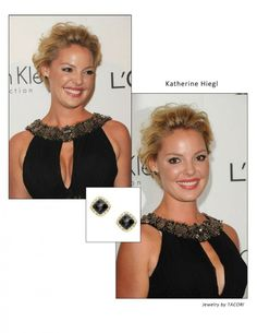 Katherine Heigl wears rockin' Tacori black onyx studs at the LA Elle Magazine Bash.