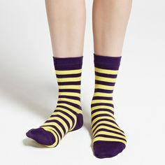 Add some spring to your step. Marimekko Raitsu Purple/Lemon Striped Socks - $16