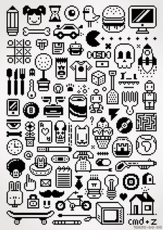 collection of and Pixel-Art images and illustrations, icons Design, Game Art, Pixel Art, Art Images, Illustration, Bead Art, Art, Pattern Art