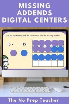 Math teachers, do you need more online, interactive, digital activities for your primary students? These digital math centers address the sometimes tricky skill of finding the missing addend or subtrahend in an equation. Make it easy and fun for your first grade kids! Drag and drop manipulatives make the centers interactive for your first grade kids. Distance learning made easy and simple. Assign through google classroom and your kids can work independently.