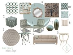 Kate Brock Interior Design ll eDesign Board ll natural robins egg