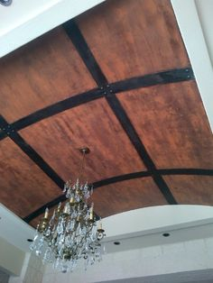 Modern Masters Statuary Bronze, SW copper penny, FE Am. were used to create rusted metal effect. By Tara Damaini of Decorative Faux Finishes. Ceiling Decor, Ceiling Ideas, Ceiling Lights, Custom Home Designs, Custom Homes, Barrel Ceiling, Metal Ceiling, Rust Paint, Chalk Paint